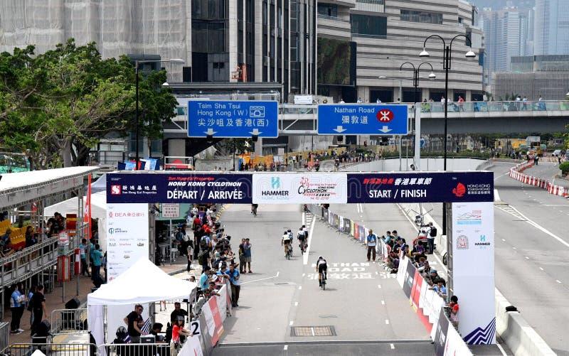 Competição de ciclagem em Hong Kong fotografia de stock royalty free