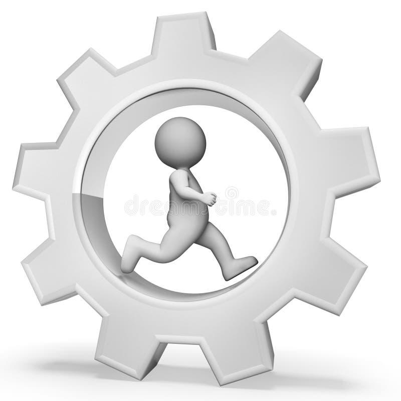 A competição desenfreada indica a rendição do trabalho duro e das rodas denteadas 3d ilustração stock