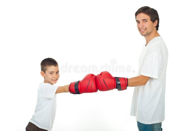 Competição do pai e do filho fotos de stock