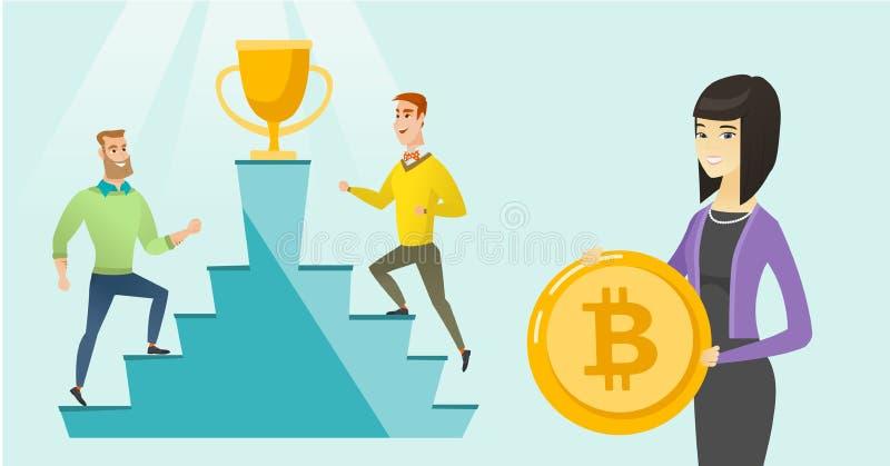 Competição entre projetos de oferecimento da moeda inicial ilustração royalty free