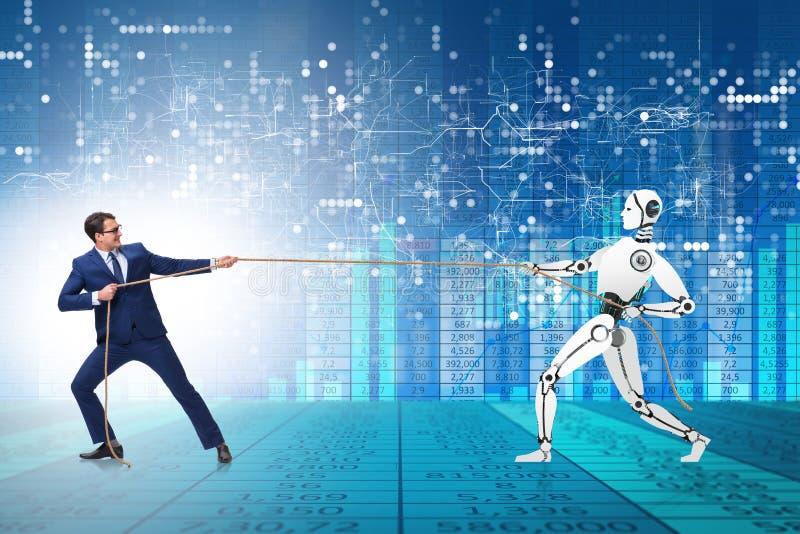 Competição entre seres humanos e robôs no conceito do conflito imagem de stock