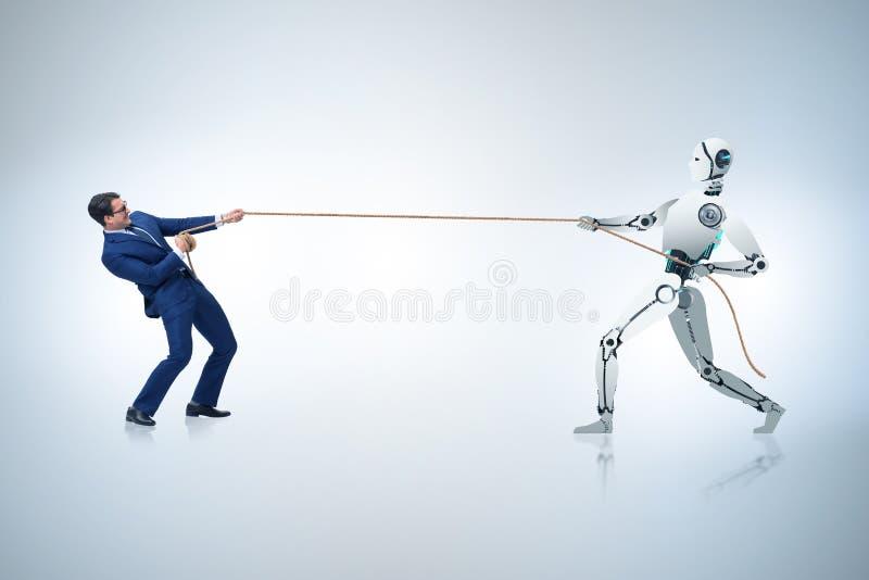 Competição entre seres humanos e robôs no conceito do conflito imagem de stock royalty free