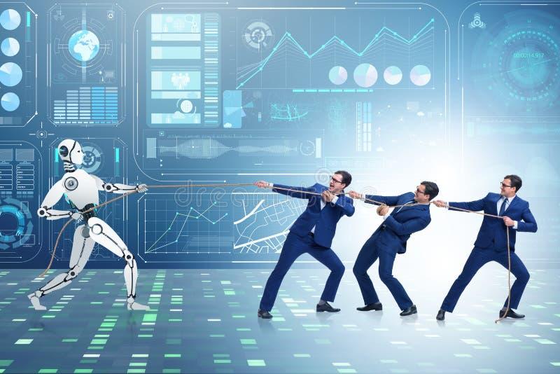 Competição entre seres humanos e robôs no conceito do conflito foto de stock