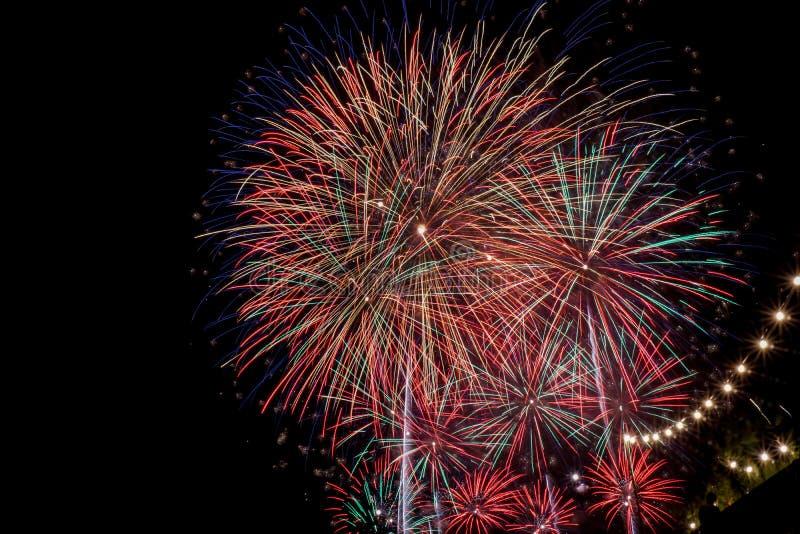 Competição internacional dos fogos-de-artifício da cidade de Tarragona imagens de stock royalty free