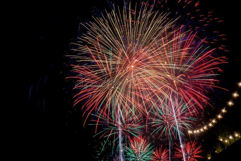 Competição internacional dos fogos-de-artifício da cidade de Tarragona imagem de stock