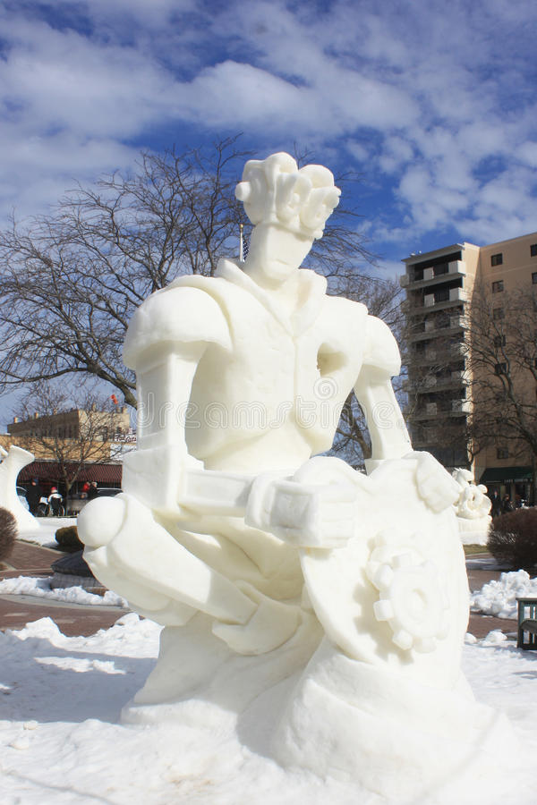 Competição nacional da escultura de neve - lago Genebra, WI fotos de stock royalty free
