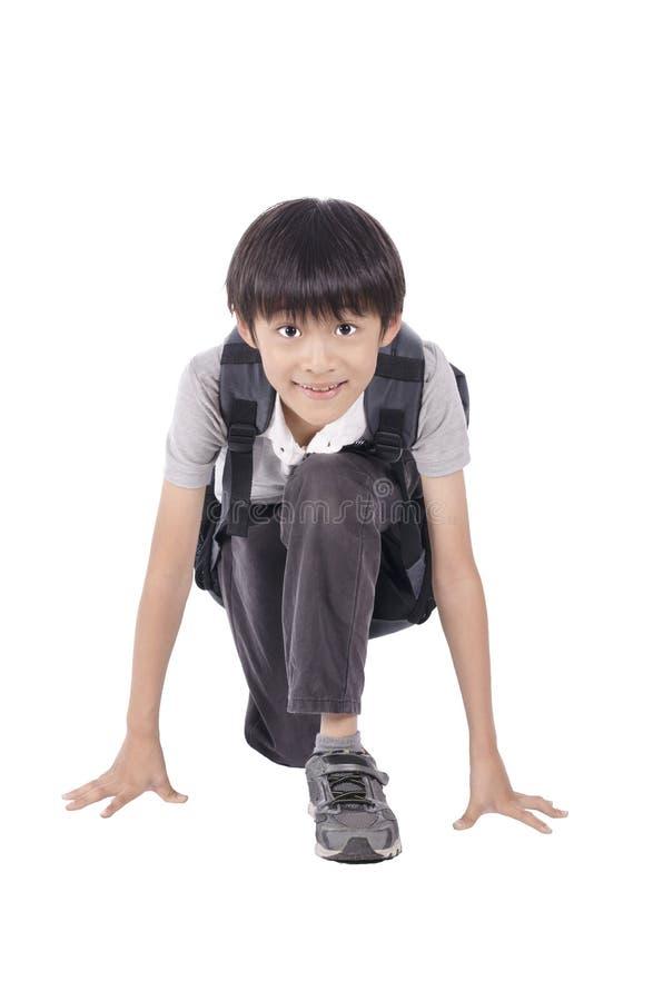 Competição pronta do menino esperto imagens de stock royalty free