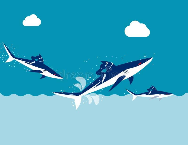 Competição, tubarão do passeio da equipe do negócio, ilustração do vetor do negócio do conceito, projeto liso, estilo de personag ilustração stock