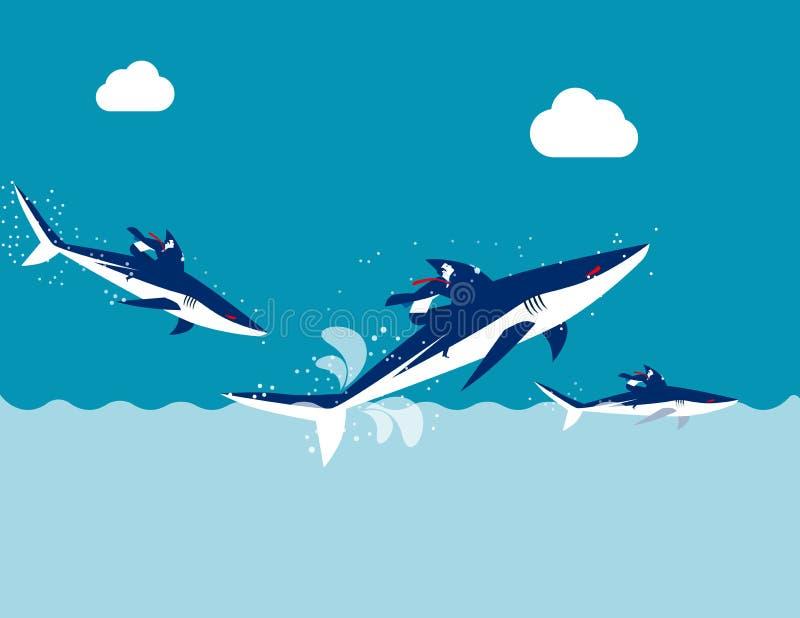 Competição, tubarão do passeio da equipe do negócio, ilustração do vetor do negócio do conceito, projeto liso, estilo de personag ilustração do vetor