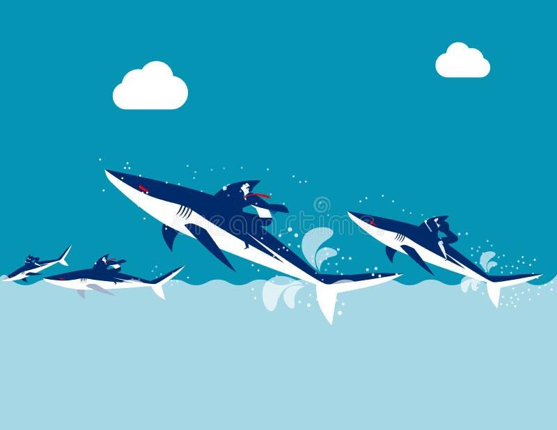 Competição, tubarão do passeio da equipe do negócio, ilustração do vetor do negócio do conceito, projeto liso, estilo de personag ilustração royalty free