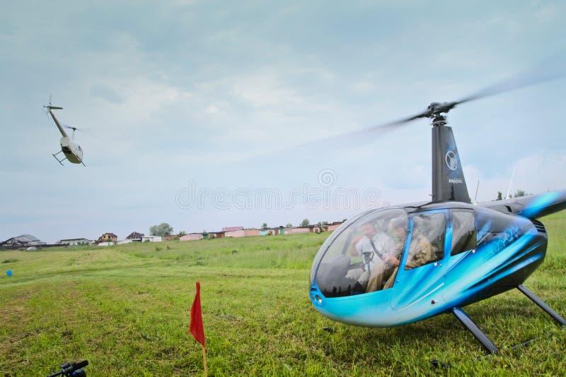 Competições de Carlson Cup-2011 em esportes do helicóptero foto de stock royalty free