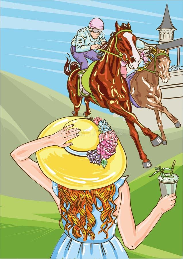 Competi??o da corrida de cavalos Ilustra??o do vetor derby Mulher com o cocktail no chapéu ilustração royalty free