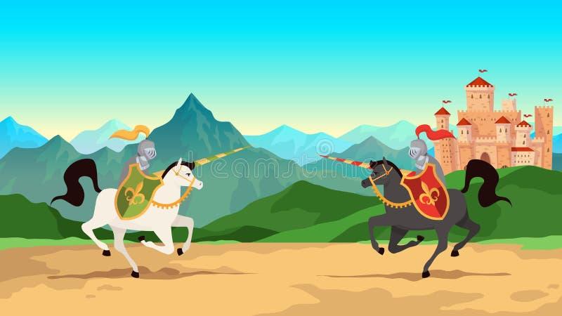 competiam de #2 Batalha entre guerreiros medievais na armadura do metal com os cavalos de equitação das armas da lança Vetor hist ilustração stock