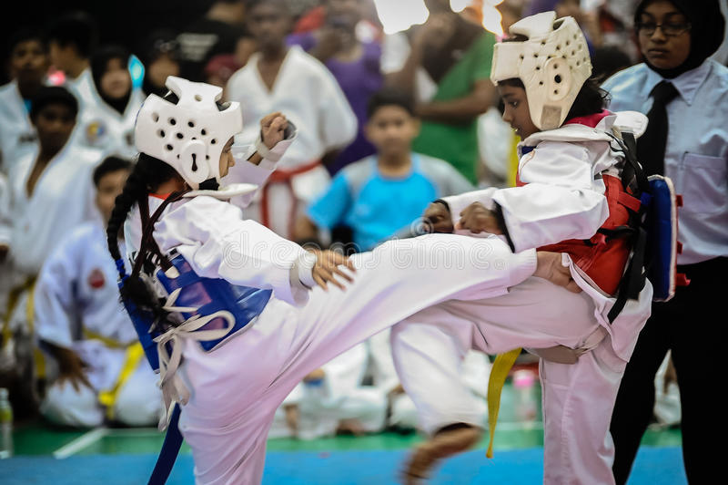 Competiam de Taekwondo fotos de stock royalty free