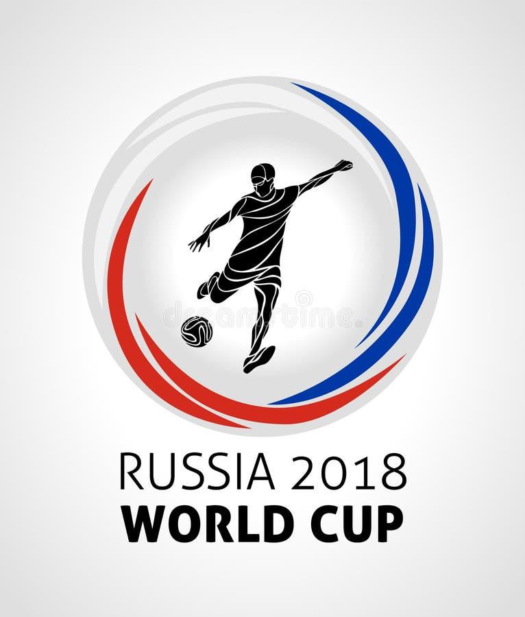 Competiam 2018 do futebol, futebol, campeonato do mundo do futebol no logotipo redondo do vetor de Rússia 2018 ilustração do vetor