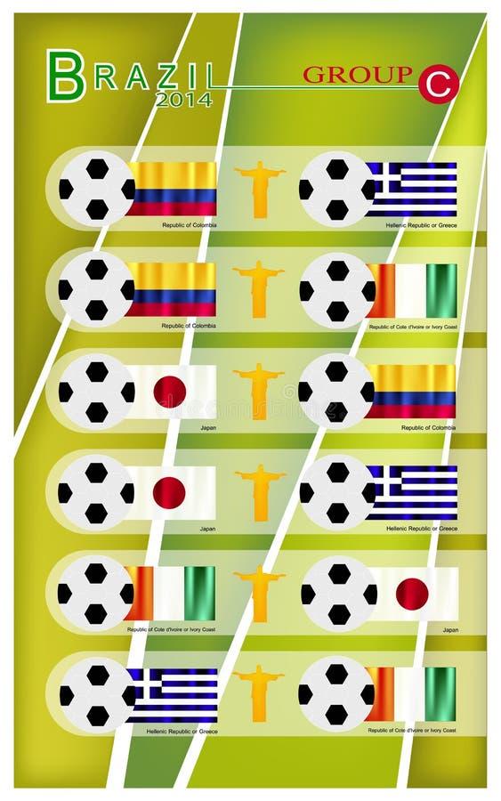 Competiam do futebol do grupo C de Brasil 2014 ilustração do vetor