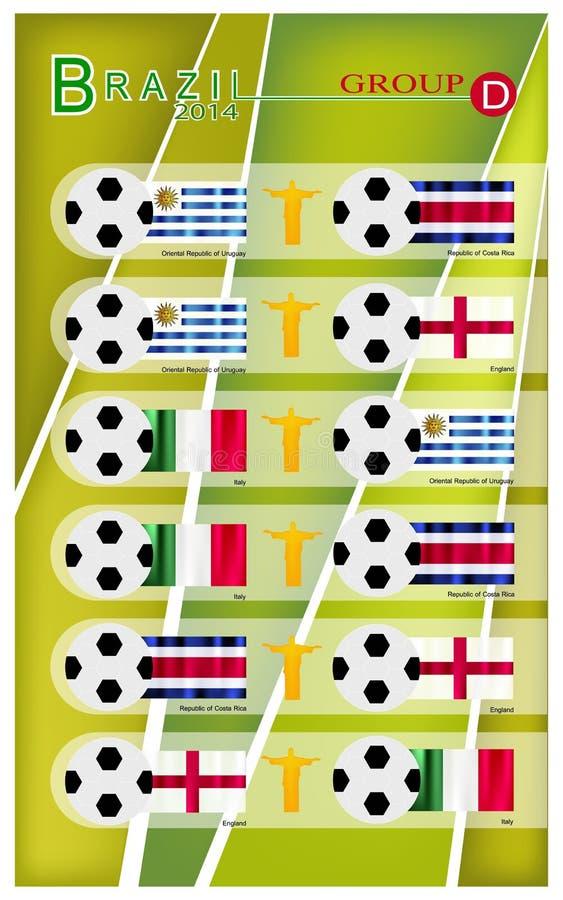 Competiam do futebol do grupo D de Brasil 2014 ilustração royalty free