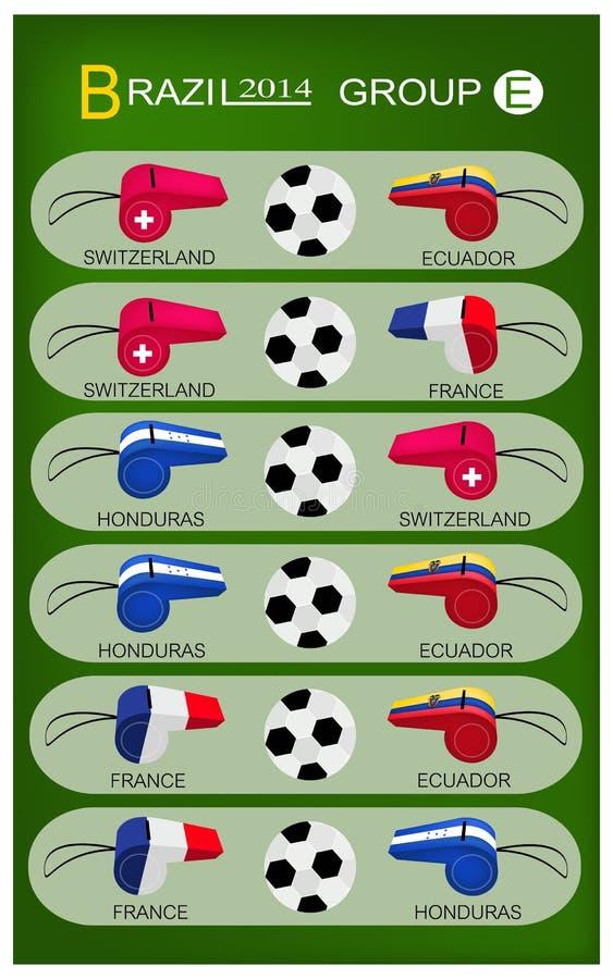 Competiam do futebol do grupo E de Brasil 2014 ilustração stock