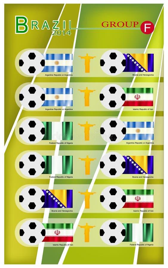 Competiam do futebol do grupo F de Brasil 2014 ilustração do vetor