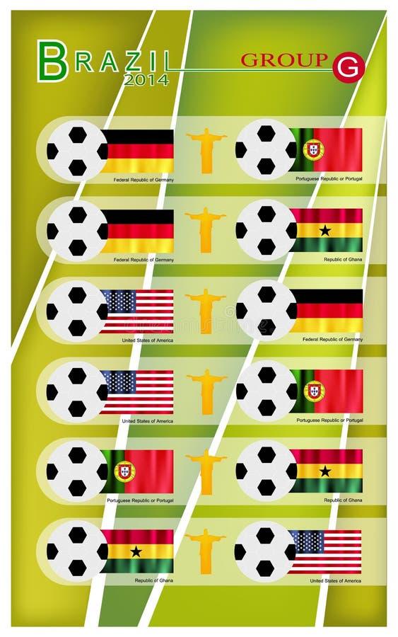 Competiam do futebol do grupo G de Brasil 2014 ilustração stock