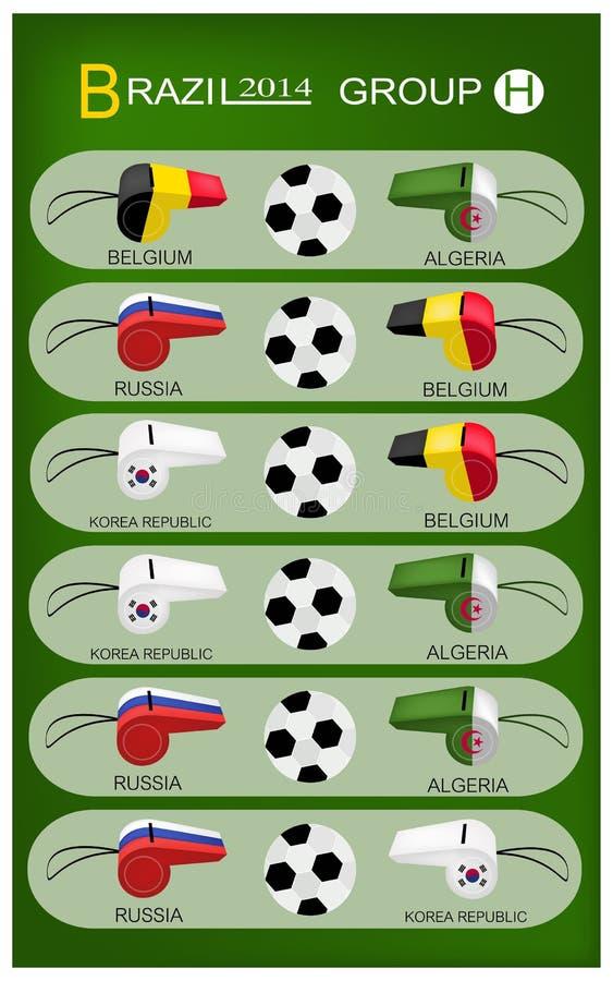 Competiam do futebol do grupo H de Brasil 2014 ilustração do vetor