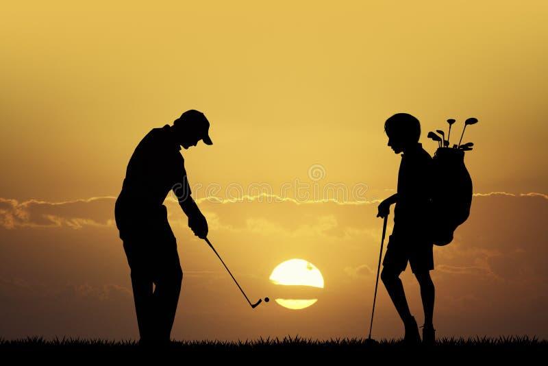 Competiam do golfe no por do sol ilustração do vetor