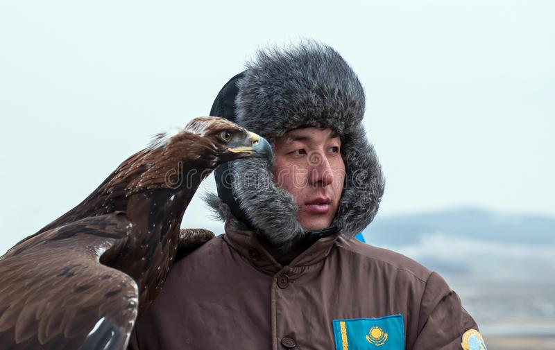 Competiam internacional dos mestres da caça com pássaros da caça fotografia de stock