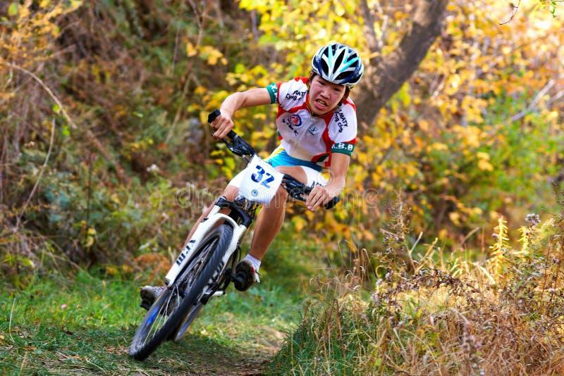 Competición de la bici de montaña foto de archivo libre de regalías