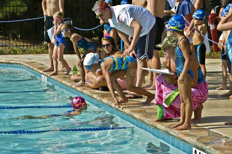 Competición de la reunión de nadada imagen de archivo libre de regalías