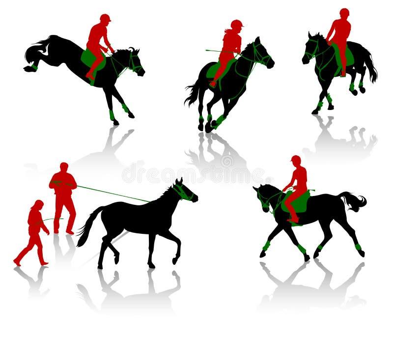 Competición de los caballos stock de ilustración