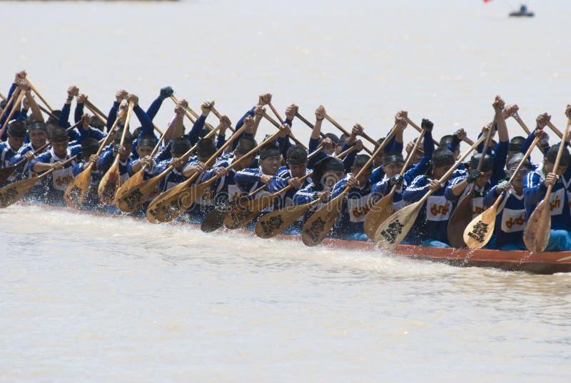 Competición larga del barco en Tailandia fotografía de archivo libre de regalías