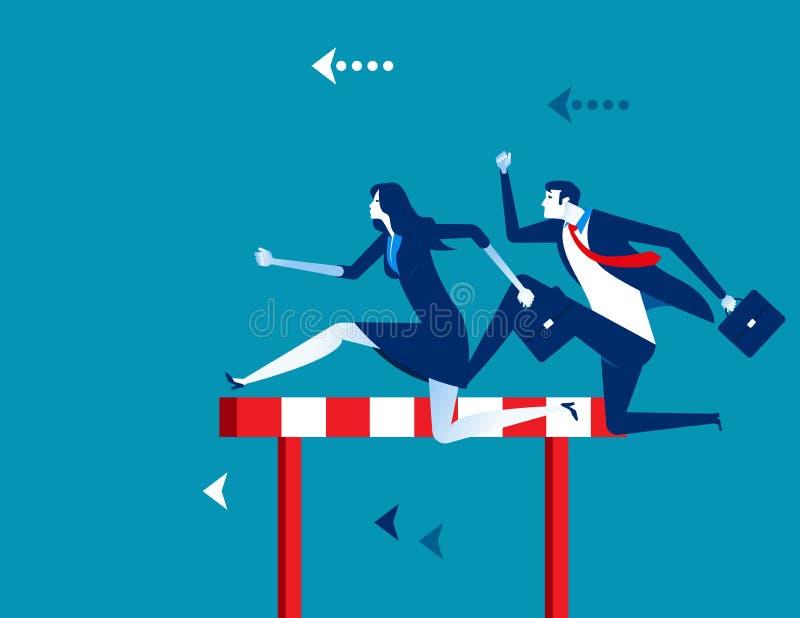 competici?n Hombres de negocios que corren y que saltan Ejemplo del vector del negocio del concepto stock de ilustración