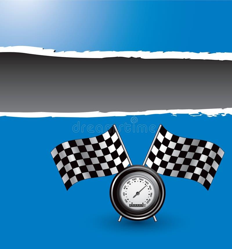 Competindo bandeiras e velocímetro na bandeira rasgada azul ilustração stock