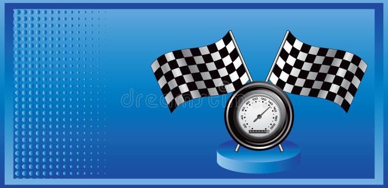 Competindo bandeiras e velocímetro no anúncio de intervalo mínimo azul ilustração royalty free
