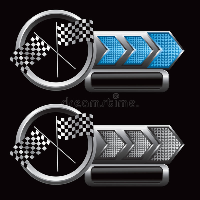 Competindo bandeiras em placas de identificação checkered da seta ilustração stock