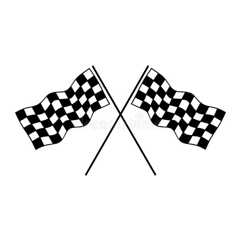 Competindo o ícone da bandeira Ilustração do vetor, projeto liso ilustração royalty free