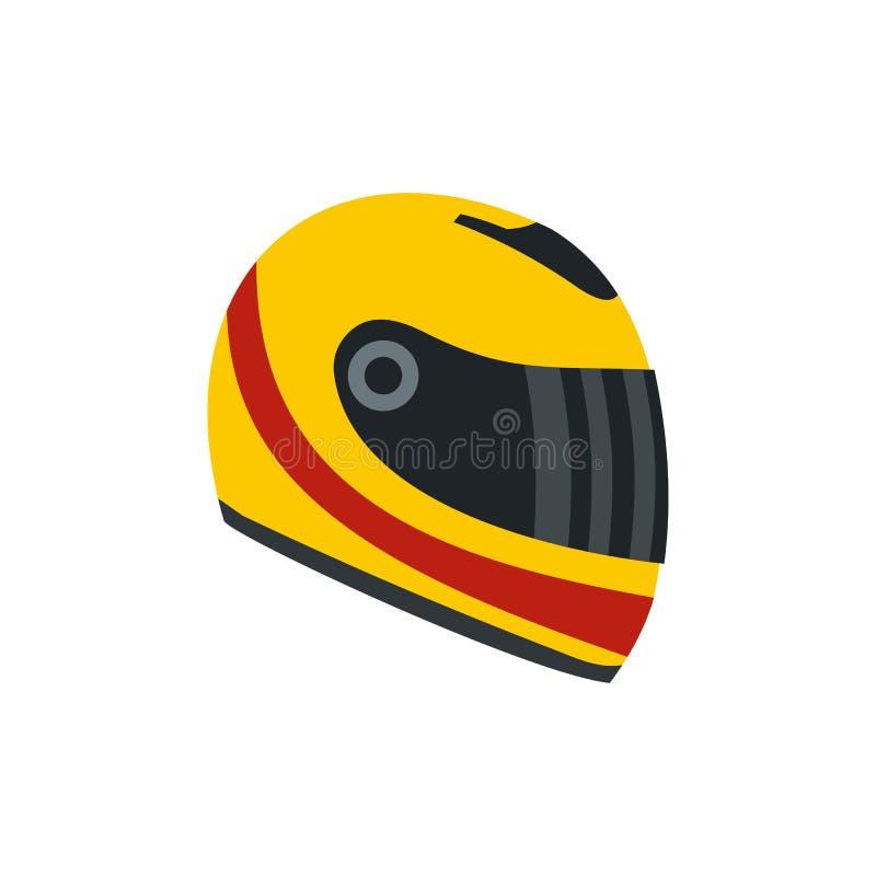Competindo o ícone liso do capacete ilustração stock