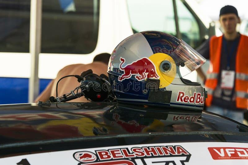 Competindo o capacete e os auriculares foto de stock royalty free
