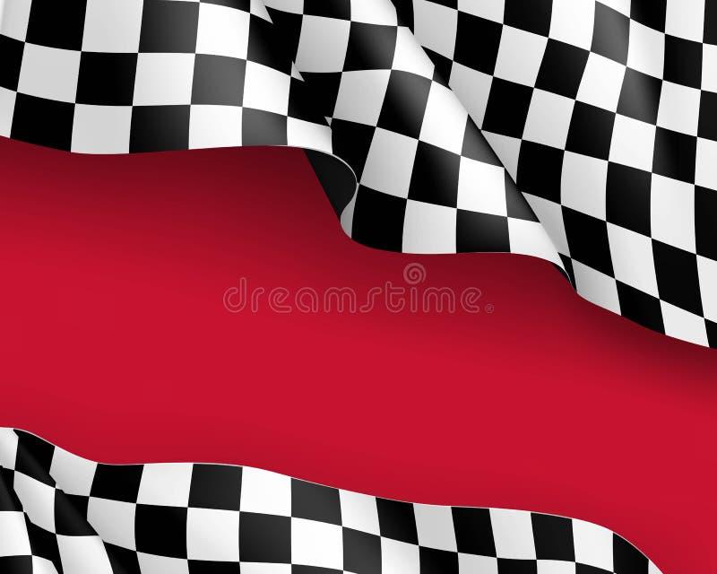 Competindo o fundo vermelho realístico da lona da bandeira ilustração stock