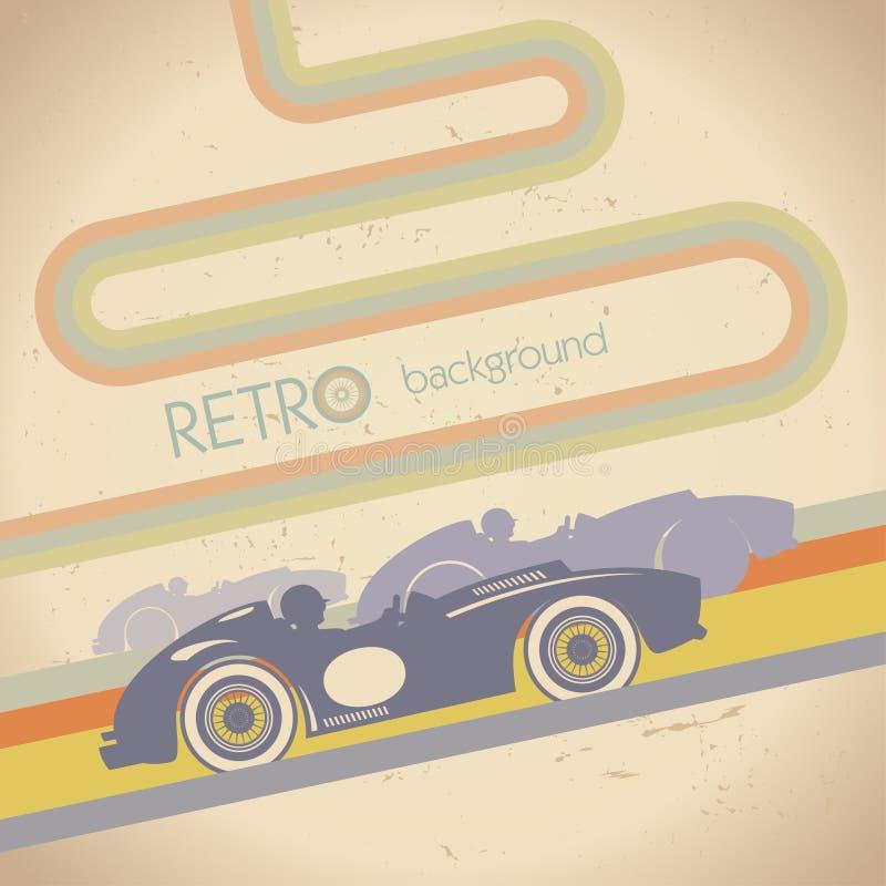 Competindo o projeto com carro retro ilustração do vetor
