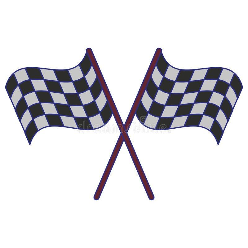 Competir bandeiras cruzou linhas azuis do símbolo ilustração stock