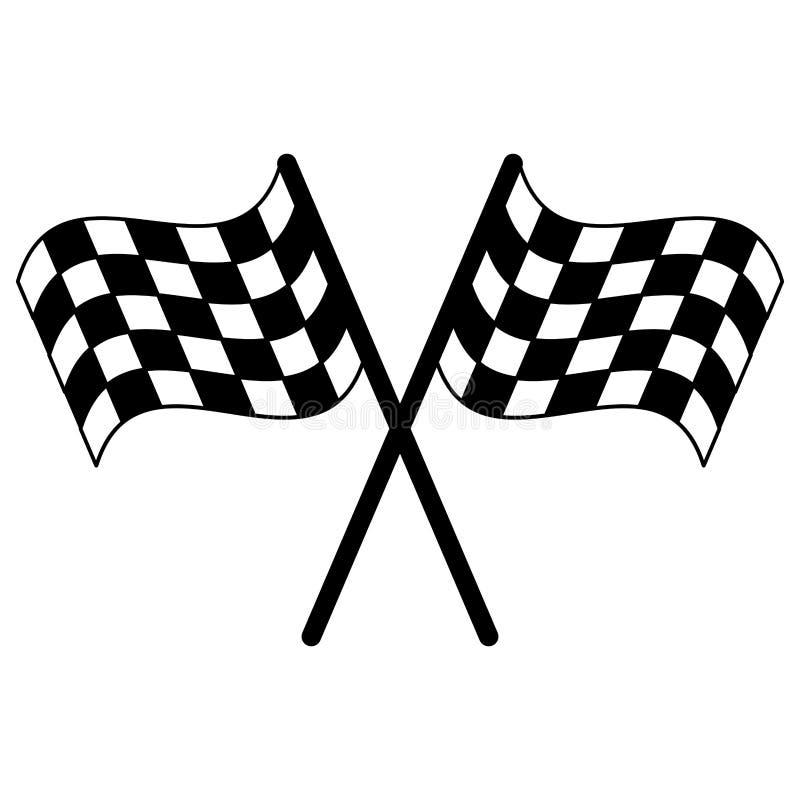 Competir bandeiras cruzou o símbolo em preto e branco ilustração stock