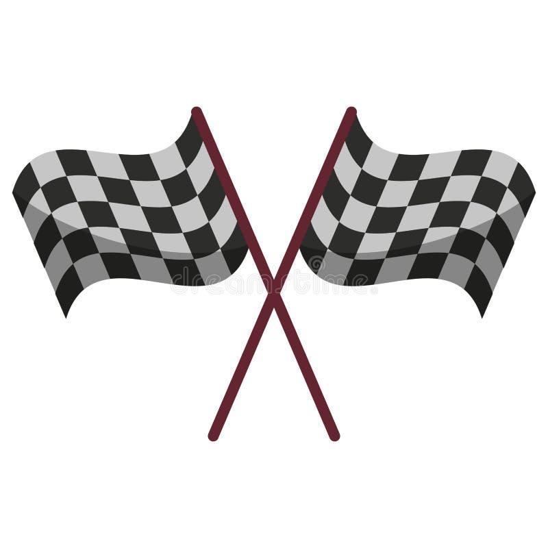 Competir bandeiras cruzou o símbolo ilustração do vetor