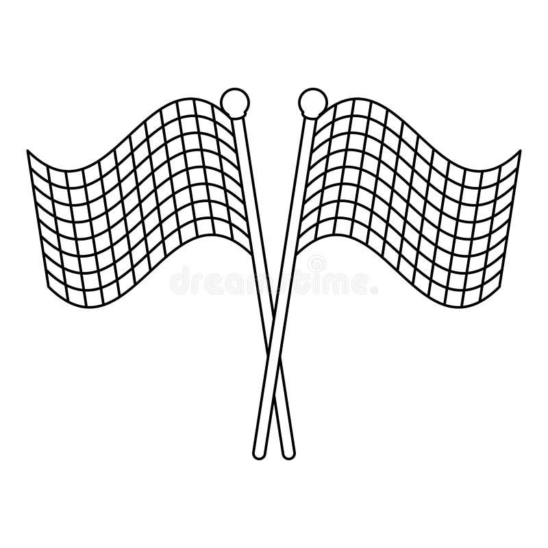 Competir bandeiras cruzou preto e branco ilustração do vetor