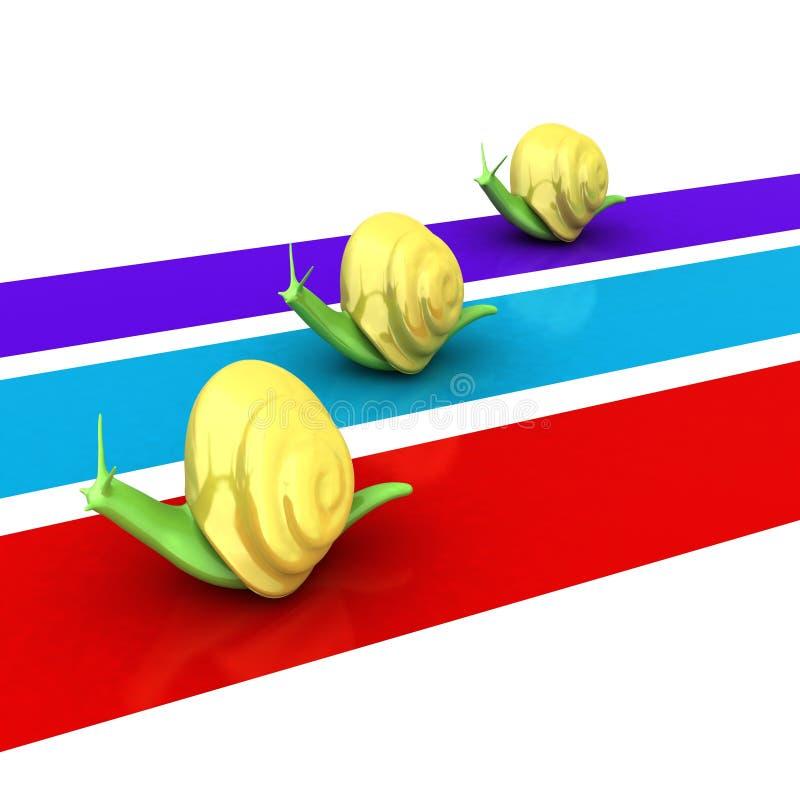 Competir con caracoles ilustración 3D ilustración del vector