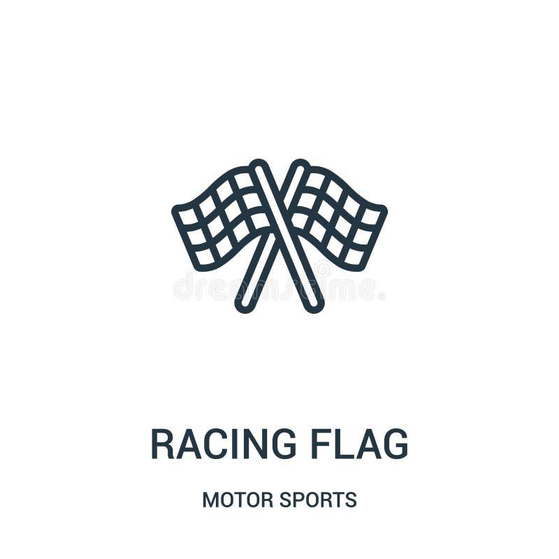 competir con vector del icono de la bandera de la colecci?n de los deportes de motor L?nea fina que compite con el ejemplo del ve stock de ilustración