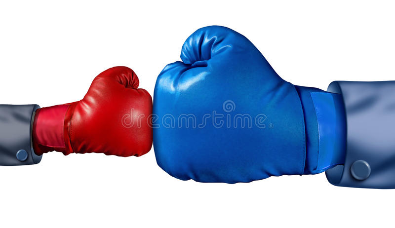 Competition And Adversity. And fighting the establishment as a new small business against a huge established corporation as a smaller boxing glove versus a huge stock illustration