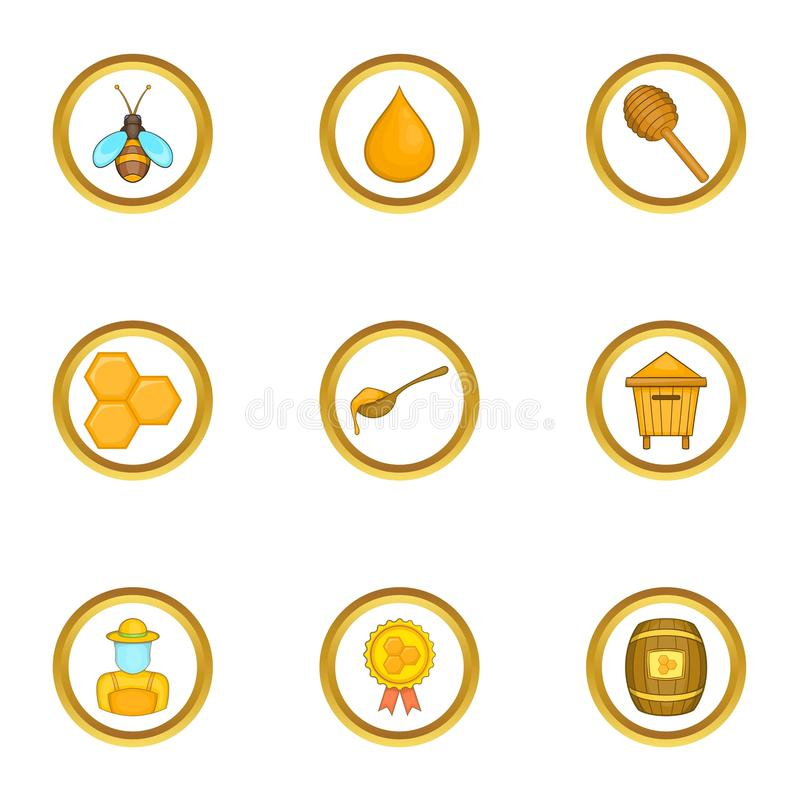 Competition of beekeepers icons set, cartoon style vector illustration