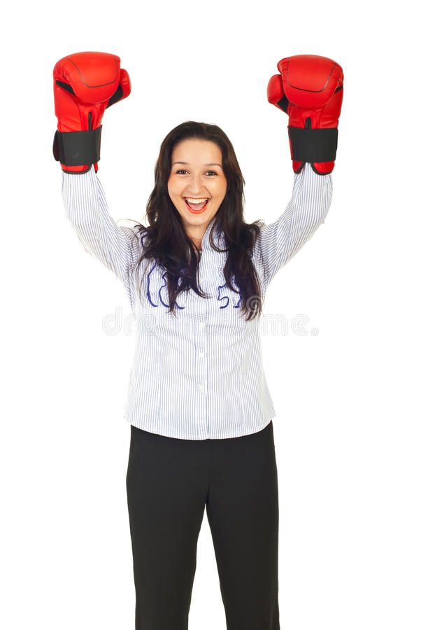 Competition business winner cheering stock images