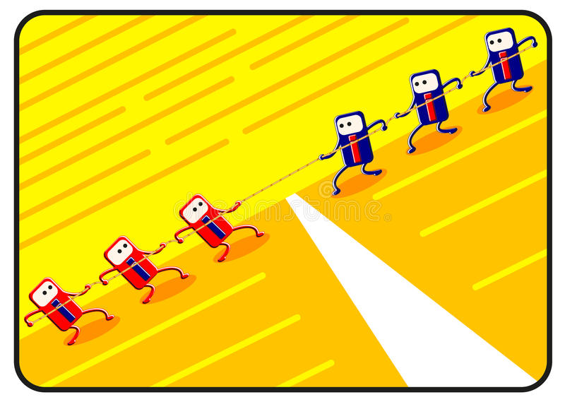 Competition by cartoon. Competition created by cartoon describe a competitive business activity stock illustration